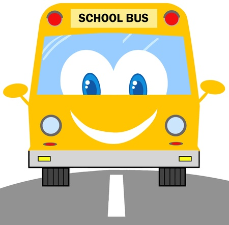 truck driver: School Bus Cartoon Character Illustration