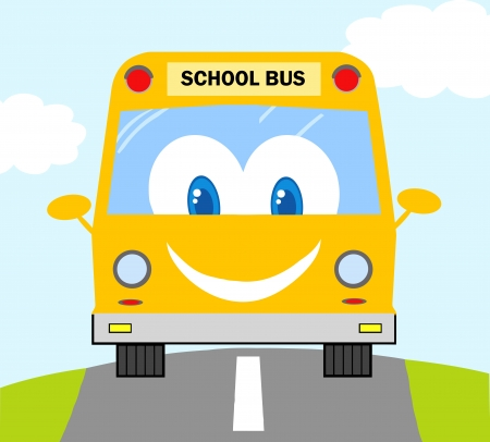 schoolbus: Cartoon School Bus  Illustration
