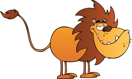Funny Lion Cartoon Character  Vector