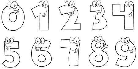 rekensommen: Geschetst Grappig Numbers Cartoon Characters