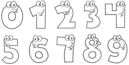 0 6: Outlined Funny Numbers Cartoon Characters  Illustration