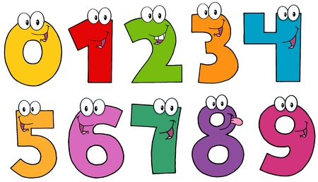 Funny Numbers Cartoon Mascot Characters Vector