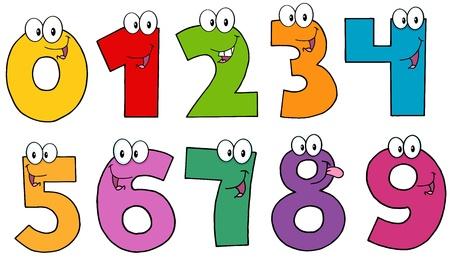 rekensommen: Grappig Numbers Cartoon Mascot Karakters Stock Illustratie