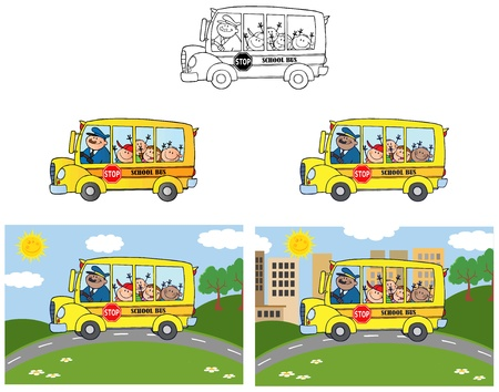 schoolbus: School Bus With Happy Children Illustration