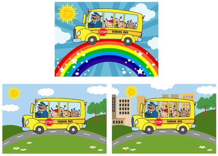 School Bus With Children  Vector