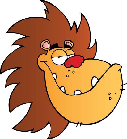 Lion Head Cartoon Mascot Character Ilustração