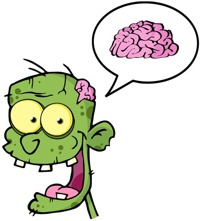 Zombie Head Cartoon Character And Speech Bubble With Brain  Vector