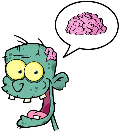 Happy Zombie Head Cartoon Character And Speech Bubble With Brain  Illustration