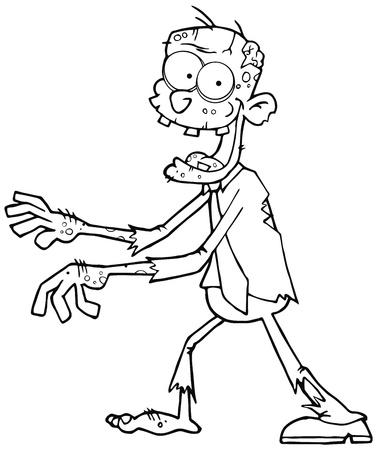 Cartoon Zombie delineato Camminare con le mani in fronte Archivio Fotografico - 15515005