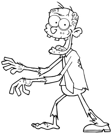 Outlined Cartoon Zombie Walking With Hands In Front Vector