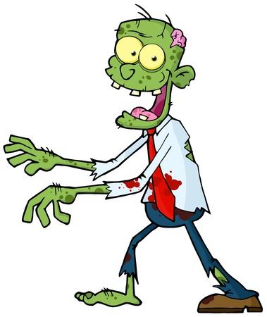 Cartoon Zombie Walking With Hands In Front