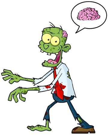 Cartoon Zombie Caminando Con Las Manos En Frente Y burbuja del discurso con el cerebro