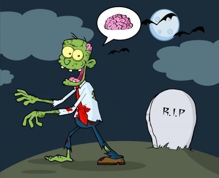 Cartoon Zombie Walking With Hands In Night  Çizim