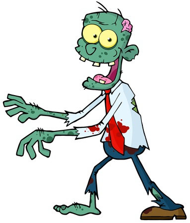 Cartoon Zombie Walking With Hands In Front  Vector