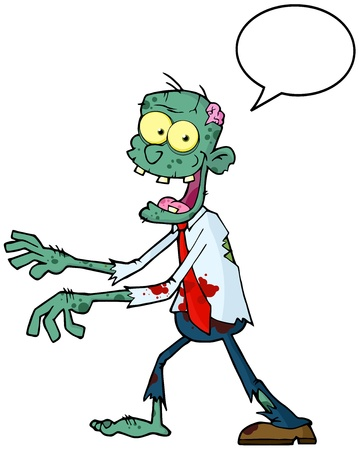 spech bubble: Blue Cartoon Zombie Walking With Hands In Front With Speech Bubble  Illustration