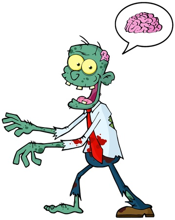 spech bubble: Blue Cartoon Zombie Walking With Hands In Front And Speech Bubble With Brain