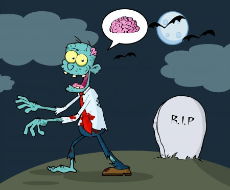 cursed: Blue Cartoon Zombie Walking With Hands In Night