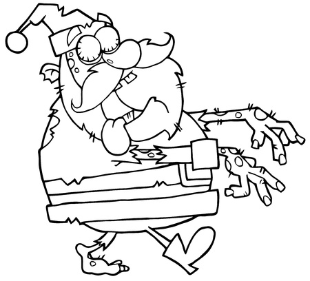 Outlined Santa Zombie Walking With Hands In Front Vector