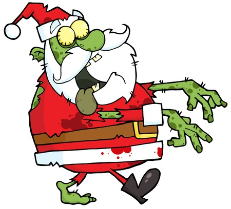 creepy monster: Santa Zombie Walking With Hands In Front Illustration