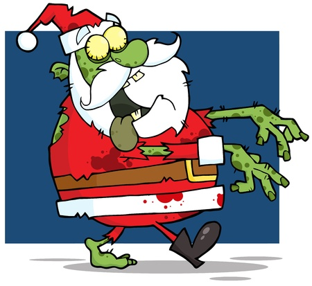Santa Claus Zombie Walking With Hands In Front Vector