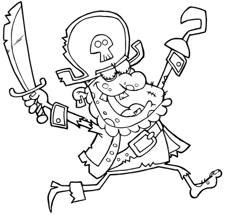 Outlined Pirate Zombie Vector