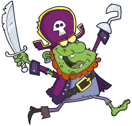 Pirate Zombie  With A Sword Vector