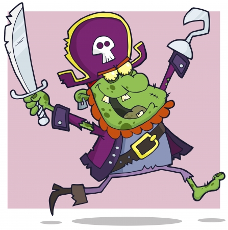 ugly man: Pirate Zombie Cartoon Character Illustration