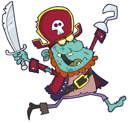 cursed: Cartoon Pirate Zombie With A Cutlass
