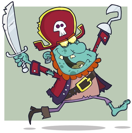 Pirate Zombie With A Cutlass Cartoon Character Vector