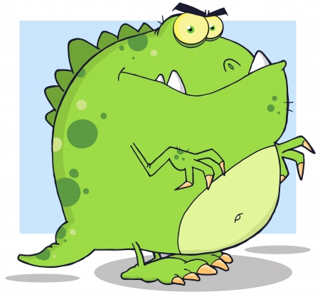 paleontological: Green Dinosaur Cartoon Character