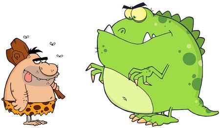 neanderthal: Caveman And Angry Dinosaur Cartoon Characters  Illustration
