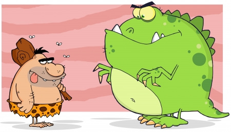 Caveman And Angry Dinosaur Vector