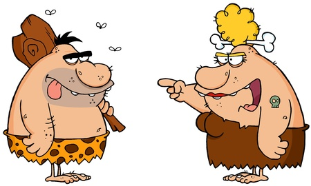 Caveman And Angry Cavewoman Cartoon Characters Vector