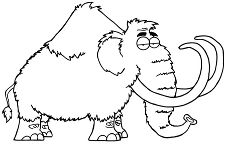 mammoth: Outlined Mammoth Cartoon Character Illustration