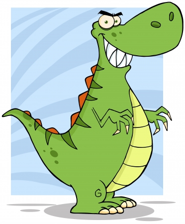 paleontological: Angry Dinosaur Cartoon Mascot Character Illustration