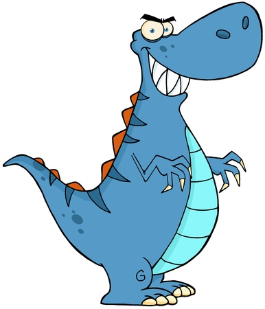 paleontological: Angry Blue Dinosaur Cartoon Character Illustration