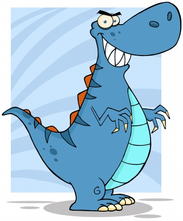 paleontological: Angry Blue Dinosaur Illustration