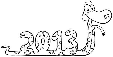 Outlined Snake Cartoon Character Showing Numbers 2013 Vector