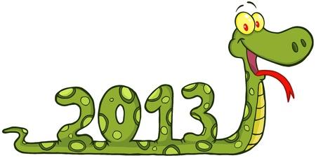 anaconda: Funny Snake Cartoon Character Showing Numbers 2013 Illustration