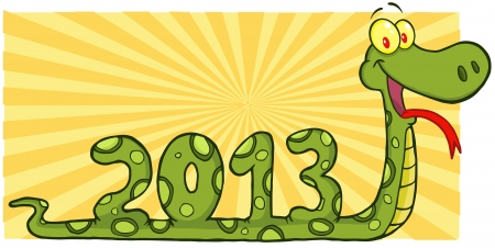 Snake Cartoon Character Showing Numbers 2013 Vector