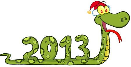 Funny Snake Cartoon Character Showing Numbers 2013 With Santa Hat Illustration