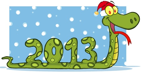 Snake Cartoon Character Showing Numbers 2013 With Santa Hat Vector