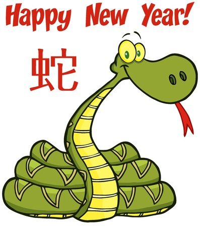 Snake Cartoon Character With Text And Chinese Symbol Vector