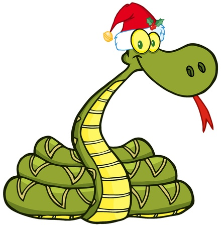 Snake Cartoon Character With Santa Hat Stock Vector - 15431623