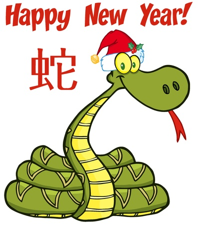 Santa Snake Cartoon Character With Text And Chinese Symbol Vector