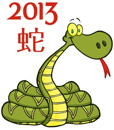 Snake Cartoon Character With Text 2013 Vector