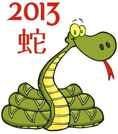 snake calendar: Snake Cartoon Character With Text 2013 Illustration
