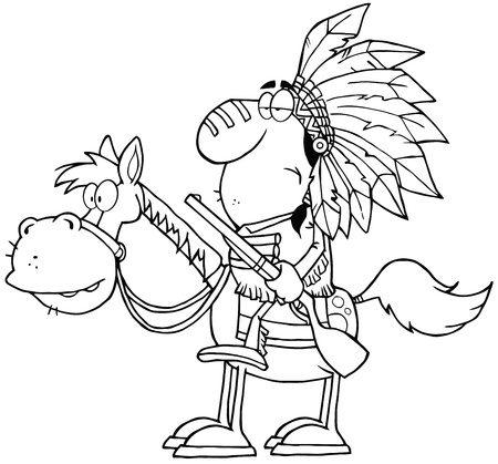 Outlined Indian Chief With Gun On Horse Vector