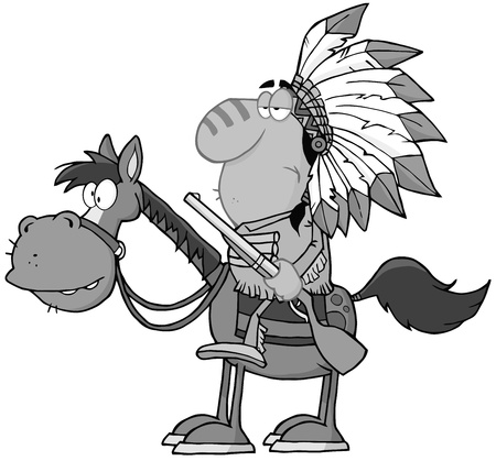 western usa: Indian Chief With Gun On Horse In Gray Color Illustration