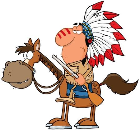 indios americanos: Jefe Indio Con El Arma En Caballo Vectores